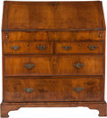 Furniture , A George III Figured Walnut Slant Front Desk, late 18th century. 41-3/4 inches high x 38-1/2 inches wide x 21 inches deep (1...