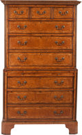 Furniture , A George III Burlwood and Inlaid Chest on Chest with Pull-Out Writing Surface, circa 1810. 69-1/2 inches high x 42 inches wi...