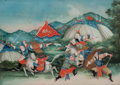 Asian:Chinese, Chinese School (19th century). Battle Field (two works).Reverse painting on glass. 13-3/4 inches high x 19-1/2 inches w...(Total: 2 Items)