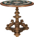 Furniture : French, A French Rococo-Style Giltwood Table with Pietra Dura Top, late19th century. 31-1/2 inches high x 33-1/2 inches diameter (8...