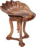 Furniture : Continental, An Italian Carved Walnut Grotto Piano Chair, 19th century. 23inches high (58.4 cm). ...