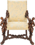 Furniture : Continental, An Italian Renaissance Revival Upholstered Walnut Figural Armchair,19th century. 47 inches high x 36 inches wide x 29 inche...