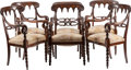 Furniture : Continental, A Set of Six Gothic Revival Upholstered Mahogany Armchairs, late19th century. 36-1/8 inches high x 21 inches wide x 19-1/4 ...(Total: 6 Items)