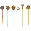 Estate Jewelry:Stick Pins and Hat Pins, Multi-Stone, Gold, Silver Stickpin Lot. ...