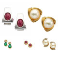 Estate Jewelry:Lots, Multi-Stone, Cultured Pearl, Diamond, Gold Earrings. ...