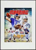 Football Collectibles:Photos, Peyton and Eli Manning Multi Signed Oversized Photograph....
