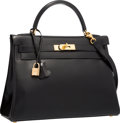 """Luxury Accessories:Bags, Hermes 32cm Black Calf Box Leather Retourne Kelly Bag with GoldHardware. Very Good to Excellent Condition . 12.5""""Wid..."""