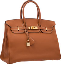 Hermes 35cm Etrusque Clemence Leather Birkin Bag with Gold Hardware Very Good to Excellent Condition