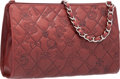 """Luxury Accessories:Bags, Chanel Burgundy Leather Precious Symbols Pochette Bag with Silver Hardware. Very Good to Excellent Condition. 9"""" Width..."""