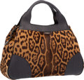 """Luxury Accessories:Bags, Yves Saint Laurent Leopard Ponyhair & Black Canvas Tote Bag. Very Good Condition. 16"""" Width x 10"""" Height x 5"""" Depth..."""