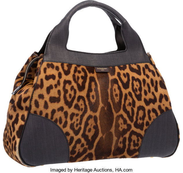 Yves Saint Laurent Leopard Ponyhair   Black Canvas Tote  69a7377a6b6ae