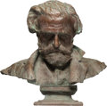 Sculpture, Vincenzo Gemito (Italian, 1852-1929). Busto di Giuseppe Verdi, 1873. Bronze . 23 inches (58.4 cm) high. Inscribed: Gem...