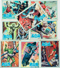 """Miscellaneous:Trading Cards, [Trading Cards, Batman]. Group of Eight Topps """"Blue Bat"""" Batman Cards. National Periodical Publications, 1966. ..."""