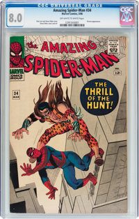 The Amazing Spider-Man #34 (Marvel, 1966) CGC VF 8.0 Off-white to white pages