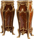 Decorative Arts, French, A Pair of Louis XVI-Style Mahogany, Marquetry and Gilt BronzePedestals with Marble Tops, 20th century. 49-1/2 inches high x...(Total: 2 Items)