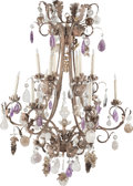Decorative Arts, Continental:Lamps & Lighting, A Spanish Renaissance-Style Wrought Iron, Rock Crystal, Cut-Glass and Amethyst Twelve-Light Chandelier, 20th century. 48 inc...