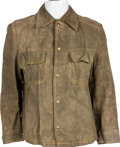 Music Memorabilia:Costumes, Elvis Owned and Worn Rustic Green Suede Jacket (Mid-1970s)....