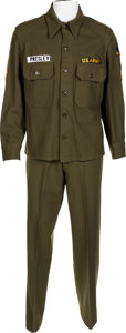 Music Memorabilia:Costumes, Elvis Presley Owned and Worn Army Wool Field Shirt and Trousers (Germany, Circa 1960)....