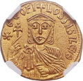 Ancients:Byzantine, Ancients: Theophilus (AD 829-842), with Constantine and Michael II.AV solidus (20mm, 4.39 gm, 6h)....