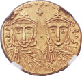 Ancients:Byzantine, Ancients: Constantine V Copronymus (AD 741-775), with Leo IV (AD751-775). AV solidus (20mm, 4.37 gm, 6h)....