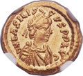 Ancients:Roman Imperial, Ancients: Basiliscus, Eastern Roman Emperor (AD 475-476). AVtremissis (14mm, 1.48 gm, 6h)....