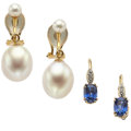 Estate Jewelry:Suites, Sapphire, Cultured Pearl, Gold Earrings. ... (Total: 2 Items)