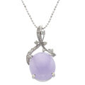 Estate Jewelry:Pendants and Lockets, Lavender Jade, Diamond, White Gold Pendant With Chain. ...