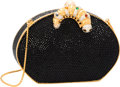 """Luxury Accessories:Bags, Judith Leiber Full Bead Black & Silver Crystal CaterpillarClasp Minaudiere Evening Bag. Excellent Condition . 6""""Widt..."""