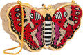 "Luxury Accessories:Bags, Judith Leiber Full Bead Red & Gold Crystal Moth MinaudiereEvening Bag. Excellent Condition. 6"" Width x 3.5"" Heightx ..."