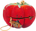 "Luxury Accessories:Bags, Judith Leiber Full Bead Red & Green Crystal Sweet HarvestMinaudiere Evening Bag. Good Condition. 4.25"" Width x 3""Hei..."