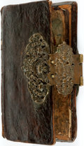 Books:Furniture & Accessories, [Remboîtage]. Eighteenth-Century Bookbinding with Elaborate MetalClasp. ...