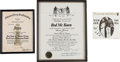 Music Memorabilia:Awards, Two-Rod McKuen Awards with Handwritten Notes and Signature,1969/1975... (Total: 3 Items)