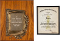 Music Memorabilia:Awards, Singer-Song Writer Rod McKuen Awards, 1969/1972.... (Total: 2 )