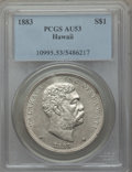 Coins of Hawaii: , 1883 $1 Hawaii Dollar AU53 PCGS. PCGS Population (30/173). NGCCensus: (23/166). Mintage: 500,000. ...