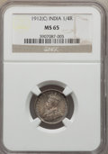 India:British India, India: George V 1/4 Rupee 1912(c) MS65 NGC,...