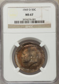 Kennedy Half Dollars, 1969-D 50C MS67 NGC. NGC Census: (4/0). PCGS Population (6/0).Mintage: 129,881,800. Numismedia Wsl. Price for problem free...