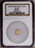 California Fractional Gold: , 1868 25C Liberty Round 25 Cents, BG-806, R.3, MS63 NGC. PCGSPopulation (22/109). (#10667)...