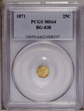 California Fractional Gold: , 1871 25C Liberty Round 25 Cents, BG-838, R.2, MS64 PCGS. PCGSPopulation (22/0). (#10699)...