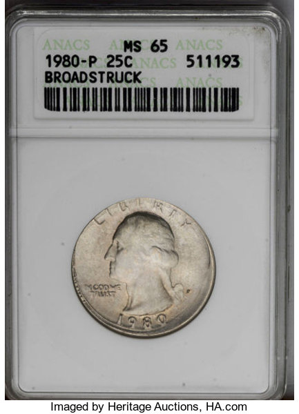 1980-P 25C Washington Quarter--Broadstruck--MS65 ANACS