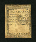 Colonial Notes:Continental Congress Issues, Continental Currency February 17, 1776 $1/2 Very Fine. This notecarries the popular Fugio design on the back. The edges sho...