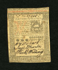 Colonial Notes:Pennsylvania, Pennsylvania October 1, 1773 15s About New. A center fold gracesthis note....