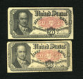 Fractional Currency:Fifth Issue, Fr. 1380 50c Fifth Issue. Two Examples. Fine or Better.. ...(Total: 2 notes)