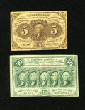 Fractional Currency:First Issue, Fr. 1232 5c Second Issue Fine. Fr. 1312 50c First Issue Fine.. ... (2 notes)