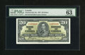 "Canadian Currency: , BC-25c $20 1937.. The label reads ""exceptional paper quality"" forthis well preserved $20. PMG Choice Uncirculated 63...."