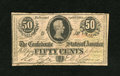 Confederate Notes:1863 Issues, T63 50 Cents 1863. An internal tear is noticed right below theportrait frame. Very Good....