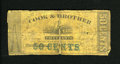 Obsoletes By State:Louisiana, New Orleans, LA- Cook & Brother 50¢ Dec. 28, 1861. This note is backed with contemporary materials and was once torn in half...