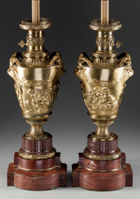 A Pair of Gilt Bronze and Rouge Marble Urns with Satyr Handles Mounted as Lamp Bases, 20th century 22 inches high
