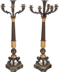 Decorative Arts, French:Lamps & Lighting, A Pair of Empire-Style Marble, Patinated, and Gilt BronzeFive-Light Candelabra Mounted as Lamps, early 20th century. 33inc... (Total: 2 Items)