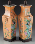 Asian:Chinese, A Pair of Chinese Polychrome Porcelain Vases Mounted as Lamp Bases,mid 20th century. 21-1/4 inches high (54 cm) (without ha... (Total:2 Items)