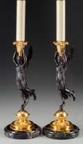 Decorative Arts, French:Lamps & Lighting, A Pair of Empire-Style Gilt and Patinated Bronze CandlesticksMounted as Lamps, late 20th century. 15-1/2 inches high (39.4 ...(Total: 2 Items)